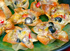 Cheese & Sausage Wonton Flowers