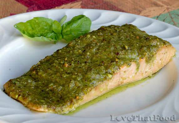 Baked Salmon with Pistachio Basil Butter Recipe with Picture ...