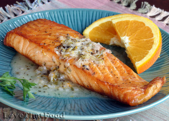 Broiled Salmon with Chive Butter Sauce