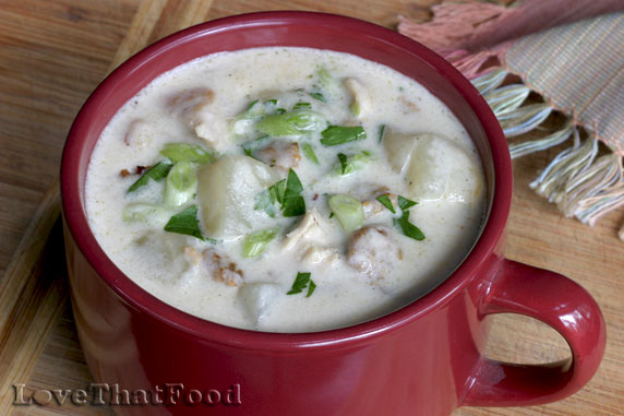 Chicken and Sausage Chowder Recipe with Picture - LoveThatFood.com