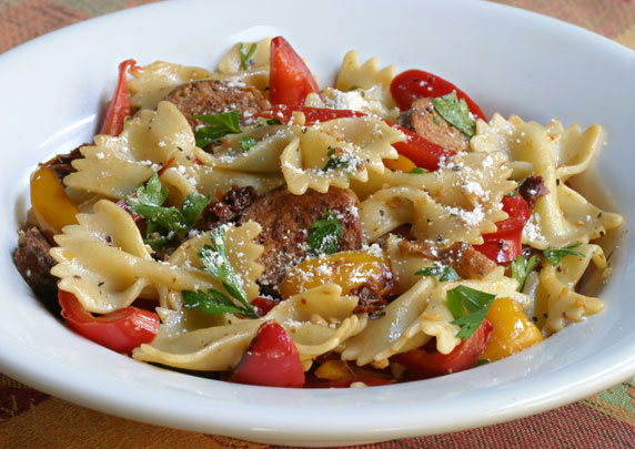 Farfalle Pasta with Sausage and Sweet Peppers Recipe with Picture ...