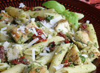 Pesto Penne with Grilled Chicken and Sun-Dried Tomatoes