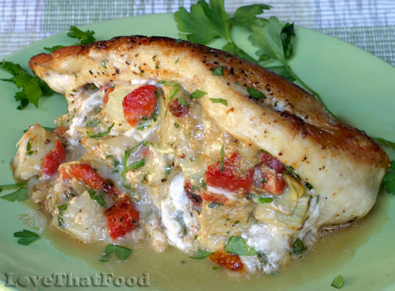Provolone, Artichoke and Rosted Red Pepper Stuffed Chicken Recipe with ...