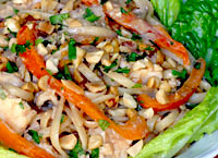 Chicken Noodle Salad with Spicy Peanut Dressing