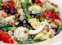 Mediterranean Salad with Pesto Vinaigrette