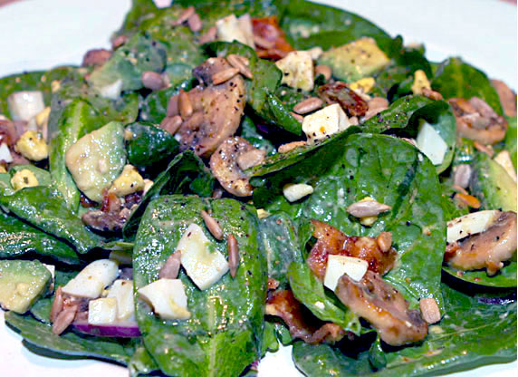 Spinach Salad with Honey Mustard Dressing