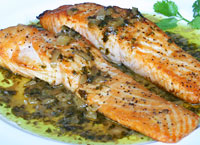 Salmon with Sweet and Sour Coriander Sauce