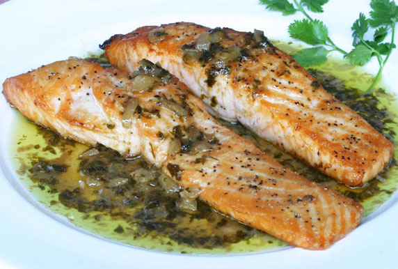 Salmon With Coriander Rub And Lime Cream Recipe — Dishmaps